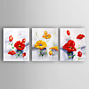 cheap Oil Paintings-Hand-Painted Flowers Set of 3 Canvas Oil Painting With Stretcher For Home Decoration Ready to Hang