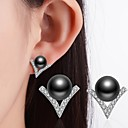 cheap Shoulder Bags-Women's Cubic Zirconia Stud Earrings - Imitation Pearl, Rhinestone, Black Pearl Classic White / Black For Wedding / Party / Special Occasion