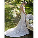 cheap Wedding Shoes-Mermaid / Trumpet Plunging Neck Court Train All Over Lace Made-To-Measure Wedding Dresses with Appliques / Button by LAN TING BRIDE®
