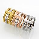 Χαμηλού Κόστους Μοδάτο Δαχτυλίδι-Ανδρικά, Γυναικεία Cubic Zirconia Band Ring - Cubic Zirconia, Τιτάνιο Ατσάλι, 18Κ Επίχρυσο Χρυσό, Ασημί, Τριανταφυλλί