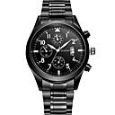 abordables Relojes Militares-Hombre Reloj de Pulsera Cuarzo Reloj Casual Cool Acero Inoxidable Banda Analógico Casual Moda Negro - Negro