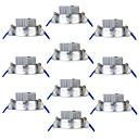 abordables Lampes Encastrées LED-Youoklight 10pcs 3w 250lm ac85-265v 3 x leds blanc chaud 3000k plafond downlight -silver
