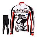 billige Cykeltrøjer-TASDAN Herre Langærmet Cykeltrøje og tights - Sort Cykel Tights Trøje Bukser Tøjsæt, 3D Måtte, Hurtigtørrende, Åndbart, Svedreducerende,