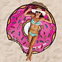 זול מגבת חוף-1pc עגול דונאט ענקית מגבת חוף חדש המבורגר פופ shawls שמיכה מודפס מקלחת מחצלת פיצה חם אופנה