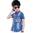 baratos Camisas para Meninos-Infantil Para Meninos Floral Casual Bordado Manga Curta Algodão Camisa