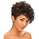 cheap Synthetic Capless Wigs-short curly black and brown mix wig african american wigs for black women haircut synthetic highlight natural wig