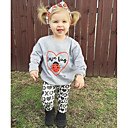 cheap Girls' Clothing Sets-Girls' Party Daily Going out Animal Print Clothing Set, Cotton Polyester Spring Fall All Seasons Long Sleeves Cartoon Animal Print Gray