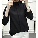 baratos Colares-Mulheres Camisa Social - Para Noite Vintage Sólido Algodão Colarinho de Camisa