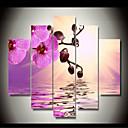 levne Abstraktní malby-Grafika Válcované plátno - Květinový / Botanický motiv Klasické