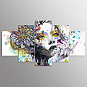 cheap Stretched Canvas Prints-Print Stretched Canvas Prints - Abstract Portrait Modern Five Panels