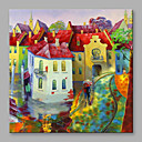 cheap Oil Paintings-Oil Painting Hand Painted - Landscape Modern / European Style Stretched Canvas