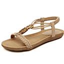 baratos Spinners de mão-Mulheres Sapatos Microfibra Primavera / Verão Conforto Sandálias Caminhada Sem Salto Ponta Redonda Elástico Preto / Amêndoa