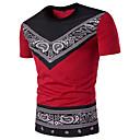 billige Højhælede sko til damer-Rund hals Tynd Herre - Geometrisk Paisley Bomuld Gade Sport T-shirt Sort & Rød