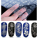 cheap Nail Glitter-108 pcs 3d silver flower nail art stickers decals stamping hollow sticker diy decoration tools