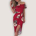 preiswerte Kindertanzkleidung-Damen Ausgehen Anspruchsvoll Hülle Kleid - Druck Übers Knie Bateau Hohe Hüfthöhe Rot