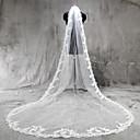 cheap Wedding Veils-One-tier Lace Applique Edge Wedding Veil Cathedral Veils 53 Appliques Tulle / Classic