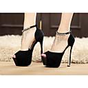 preiswerte Damen Heels-Damen Schuhe PU Frühling Komfort High Heels für Normal Weiß Schwarz Farbbildschirm