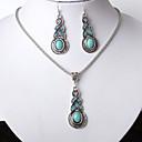 baratos Colares-Mulheres Conjunto de jóias - Resina Caído Fashion, Euramerican Incluir Azul Para Festa / Diário