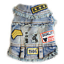 cheap Dog Clothes-Dog Denim Jacket / Jeans Jacket Dog Clothes Letter & Number Black / Blue Denim Costume For Pets Men's / Women's Cowboy / Casual / Daily