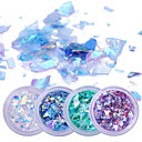 cheap Nail Glitter-2g 4 boxes fluorescent nail flakies glass paper irregular paillette nail art glitter sequins flakes