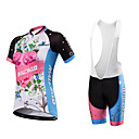 cheap Cycling Jerseys-Malciklo Women's Short Sleeve Cycling Jersey with Bib Shorts Plus Size Bike Clothing Suit, Breathable, Quick Dry, Anatomic Design, Reflective Strips, Sweat-wicking Spandex, Coolmax®, Lycra Floral