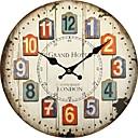 preiswerte Rustikale Wanduhren-Antike Freizeit Traditionell Landhaus Stil Retro Büro/Geschäftlich Holz Kreisförmig Drinnen,Batterie