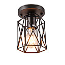 baratos Luminárias de Teto-Gaiola de metal do vintage mini 1-luz black loft lâmpada do teto montagem embutida sala de jantar cozinha luminária