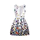 ieftine Colier la Modă-Pentru femei Plajă Concediu Bumbac Linie A Rochie Floral Talie Inaltă Lungime Genunchi