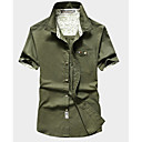 cheap Softshell, Fleece & Hiking Jackets-Men's Simple Linen Shirt - Solid Colored / Short Sleeve
