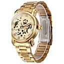 preiswerte Edelstahl-Herrn Armbanduhr / Mechanische Uhr Transparentes Ziffernblatt Edelstahl Band Luxus Gold / Automatikaufzug