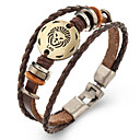 cheap Bracelets-Zodiac Leather Bracelet - Leather Leo 7.23 - 8.22 Ladies, Vintage Bracelet Jewelry Brown For Gift