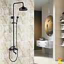billige Vandhaner til badeværelset-Antik Centersat Regnbruser Keramik Ventil Tre Huller To Håndtag tre huller Olie-gnedet Bronze, Brusehaner