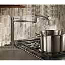 preiswerte Kleiderhaken-Moderne Art déco/Retro Landhaus Stil Pot Filler Becken Verbreitete drehbar Keramisches Ventil Zwei Griffe Ein Loch Chrom, Armatur für die