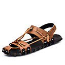 cheap Wall Stickers-Men's Light Soles Cowhide Summer / Fall Comfort Sandals Black / Brown