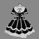 halpa Videopeli-peruukit-Prinsessa Gothic Lolita Ruffle mekko Naisten Tyttöjen Mekot Cosplay Musta Tanssiaismekko Holkki Lyhythihainen Lyhyt / mini Pluskoko Räätälöidyt Puvut