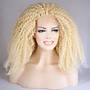 billige Syntetiske blondeparykker-Syntetisk Lace Front Parykker Krøllet Blond Syntetisk hår Natural Hairline Blond Paryk Dame Medium / Lang Blonde Front