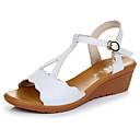 baratos Sandálias Femininas-Mulheres Sapatos Microfibra Verão Conforto Sandálias Salto Plataforma Peep Toe Preto / Vermelho / Verde / Calcanhares
