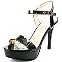 povoljno Ženske sandale-Žene Cipele PU Ljeto Udobne cipele Sandale Stiletto potpetica Crn / Badem