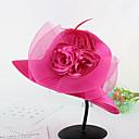 baratos Sensores-Mulheres Chapéu Flor Pelicula de Plástico Tecido Primavera/Outono Verão Coco De Palha,Retalhos Floral Marron Preto Cinzento Fúcsia Azul