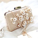 cheap Clutches & Evening Bags-Women's Bags PU Evening Bag Flower Champagne