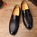 cheap Men's Slip-ons & Loafers-Men's Leather / Tulle All Seasons Comfort Loafers & Slip-Ons Black / Dark Brown