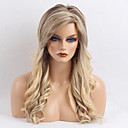 cheap Human Hair Capless Wigs-Human Hair Capless Wigs Human Hair Wavy Layered Haircut / With Bangs Side Part Ombre Long Machine Made Wig Women's