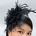 cheap Party Headpieces-Tulle Blusher Veils / Fascinators / Hats with Feather 1 Event / Party Headpiece