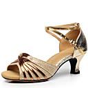 baratos Sapatos de Dança Latina-Mulheres Sapatos de Dança Latina Courino Sandália Presilha Salto Robusto Não Personalizável Sapatos de Dança Dourado / Preto / Prata