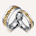 baratos Anéis-Casal Anel de banda / Anel - Banhado a Ouro 18K Vintage, Estilo simples, Elegante 6 / 7 / 8 Dourado Para Casamento / Festa / Aniversário / Presente / Diário