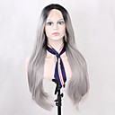 cheap Bed Pillows-Synthetic Lace Front Wig Straight Synthetic Hair Ombre Hair / Natural Hairline Black / Gray Wig Women's Long Lace Front Grey