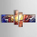 cheap Oil Paintings-Oil Painting Hand Painted - Abstract Modern / European Style Stretched Canvas / Four Panels