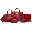 cheap Bag Sets-Women's Bags Other Leather Type Bag Set 6 Pieces Purse Set Ruffles Red / Beige / Brown / Bag Sets