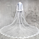 cheap Wedding Flowers-Two-tier Lace Applique Edge Wedding Veil Cathedral Veils 53 Appliques Lace Tulle