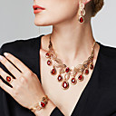 cheap Jewelry Sets-Women's Synthetic Ruby Cut Out Jewelry Set - 18K Gold Plated, Rhinestone Floral Theme, Flower Luxury, Bohemian, Fashion Include Drop Earrings / Statement Necklace / Statement Ring Gold For Party